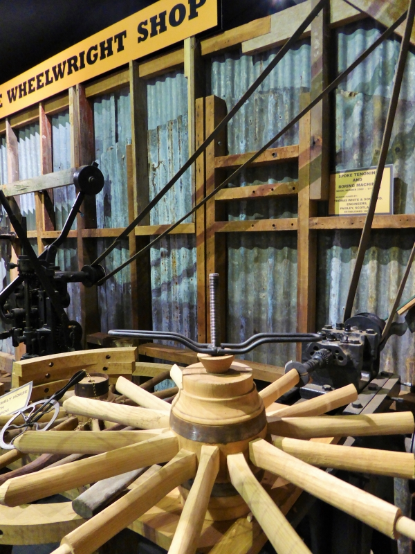 Blacksmiths Shop making a wood spoke wheel, Feilding NZ